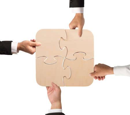 Business teamwork puzzle
