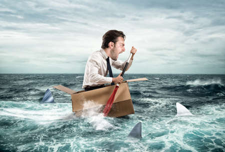 Escape from crisis. Grappig gezicht Stockfoto