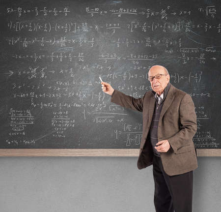 aged: Elderly math teacher Stock Photo