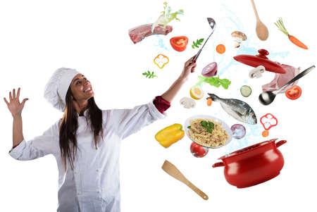 potěšen: Chef vaření s harmonii Reklamní fotografie