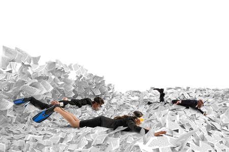 Zwemmen in de bureaucratie Stockfoto