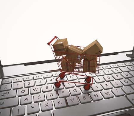 Shopping online. 3D Rendering