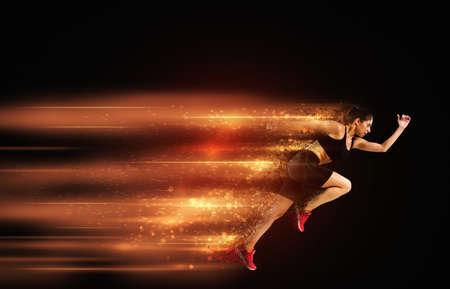 スポーツ女性の高速ランナー