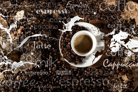 table: Background of cup of coffee