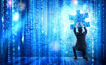 Systeemintegratie concept met ontbrekend stukje puzzel