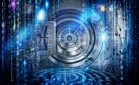 Concept internetbeveiligingsverbinding met kluis