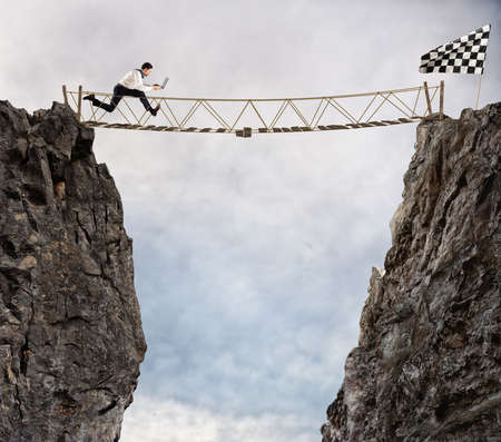 overcoming adversity: Reach the success with difficult.  Achievement business goal and Difficult career concept