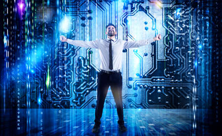 Successful businessman of internet service