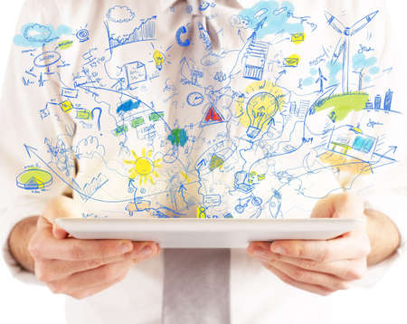 marketing online: Businessman working with tablet and social media Stock Photo