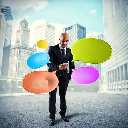 mobile communication: Networking and send messages Stock Photo