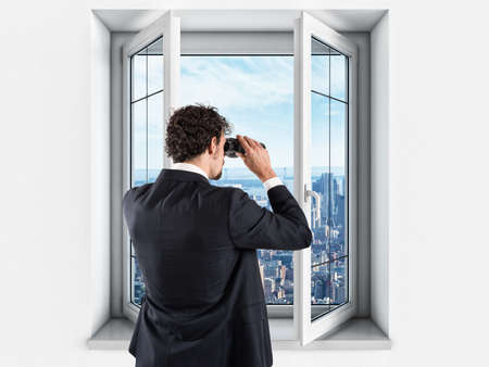 new: Businessman looking to the future and new business Stock Photo
