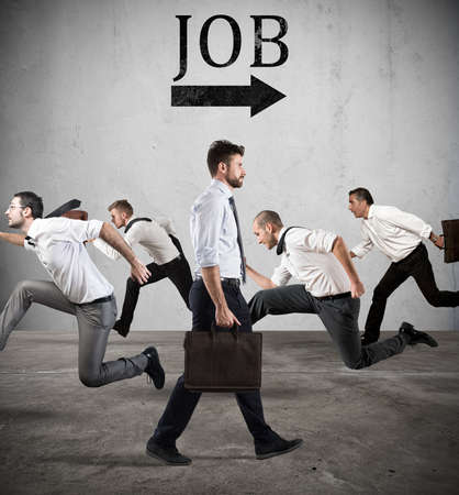 inoperative: Follow the job arrow. Fear of the job Stock Photo