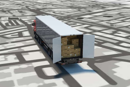 find: GPS tracking and shipment. 3D Rendering