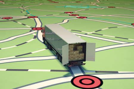 GPS のトラッキングと出荷。3 D レンダリング