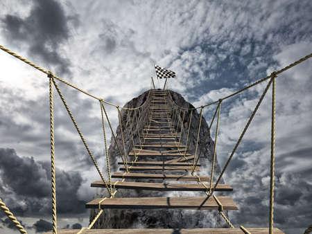 Bereik het succes met moeilijk. Prestatie bedrijfsdoel en Moeilijk carrière concept