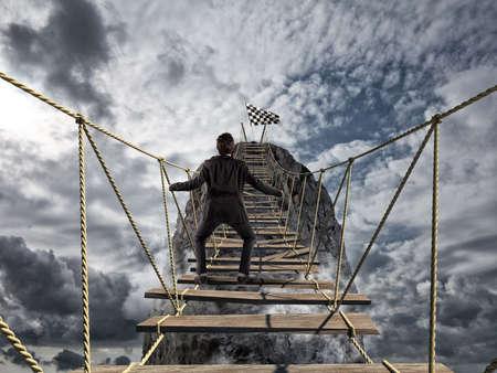 ganancias: Alcanzar el éxito con difícil. Lograr la meta de negocio y el concepto de carrera difícil