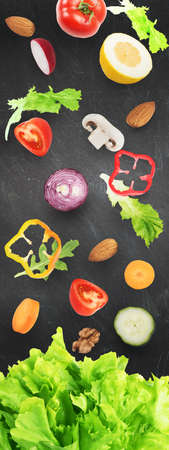 raw: Background of salad . Healthy food for wellness concept