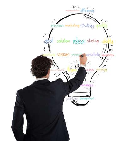 ビジネスマンは壁に明るい色とビジネス スケッチ大きな着色された球根を描画します。