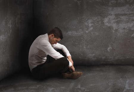 Alone desperate businessman. solitude and failure concept