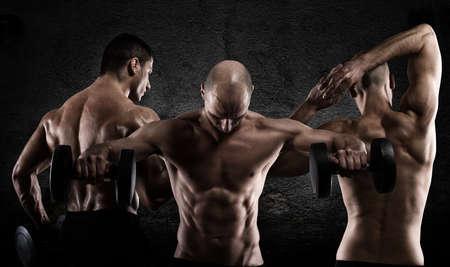 dark: Athletic men workout
