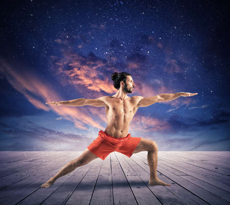 resting: Yoga under the sky with stars