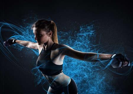Shiny power workout Stock Photo