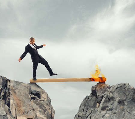 equilibrium: Instability and Fear of obstacles to overcome Stock Photo