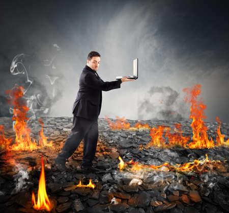Walking on burning charcoal Stock Photo