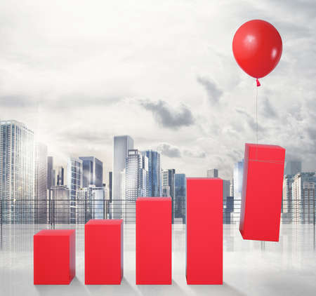Statistics raised by flying balloon. fly to economic success