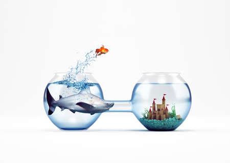 金魚のジャンプ、改善と進歩の概念 3 D レンダリング