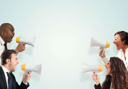 loud speaker: Stress concept with screaming businesspeople. men versus women Stock Photo