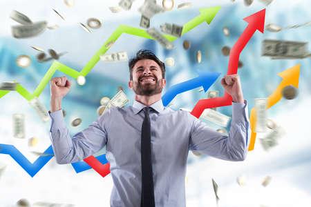 指数の成長と幸せの実業家統計情報を得るため 写真素材