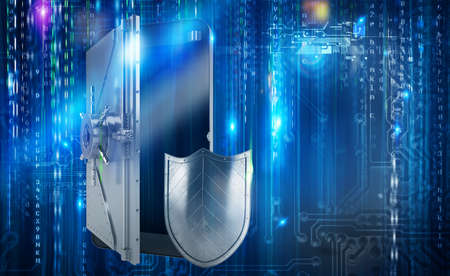 secure: Safe cellphone from hacker attack like a strongbox. 3D Rendering Stock Photo