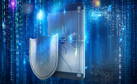 protect: Safe cellphone from hacker attack like a strongbox. 3D Rendering Stock Photo
