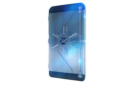 Safe cellphone from hacker attack like a strongbox. 3D Rendering Stock Photo - 79620163
