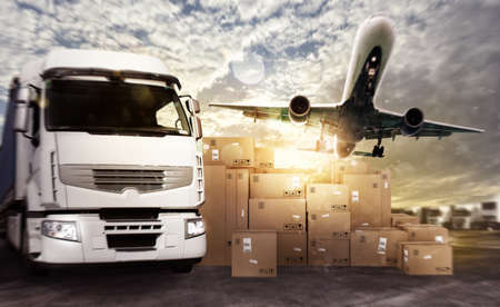 moving truck: Truck and aircraft ready to start to deliver