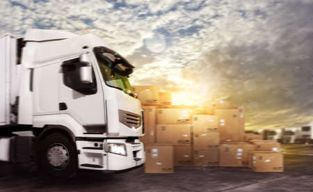 storage: Truck in a deposit with packages ready to start Stock Photo