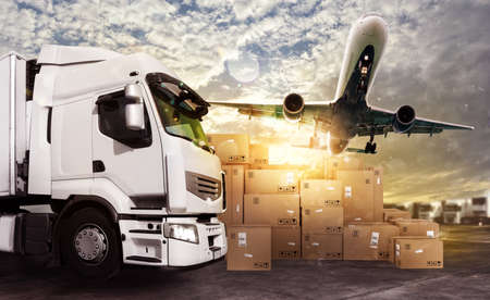 box: Truck and aircraft ready to start to deliver
