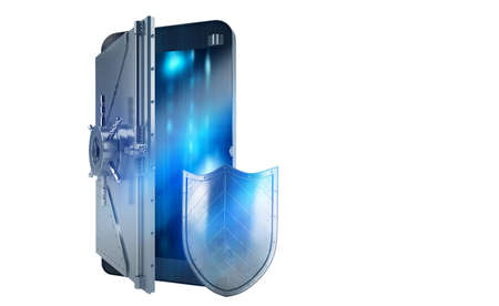strongbox: Safe cellphone from hacker attack like a strongbox. 3D Rendering Stock Photo