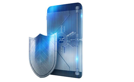 protect: Safe cellphone from hacker attack like a strong strongbox  . 3D Rendering