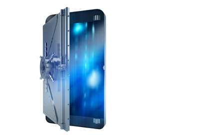 Safe cellphone from hacker attack like a strongbox. 3D Rendering Stock Photo