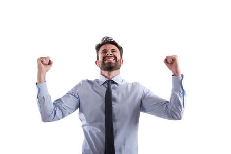 victorious: Successful victorious businessman Stock Photo