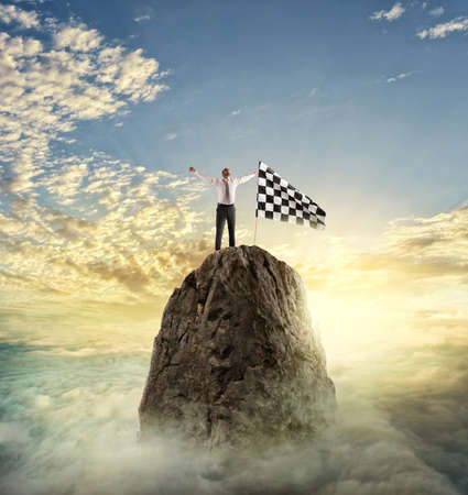 occupation: Businessman reachs the goal. Determination concept Stock Photo