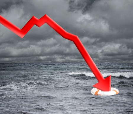 crisis economica: Concepto de crisis con la flecha que cae en el océano