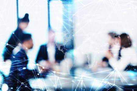 project: Blurred background with futuristic effect of business people Stock Photo