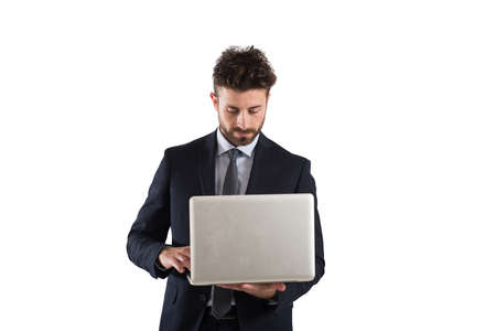 profession: Businessman working with laptop Stock Photo