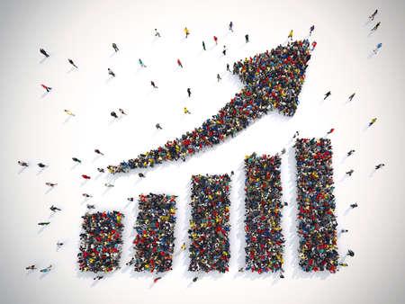 矢印の統計の人々。3 D レンダリング 写真素材