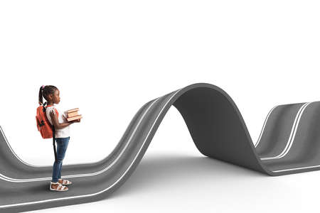 Difficult way . 3D Rendering Stock Photo