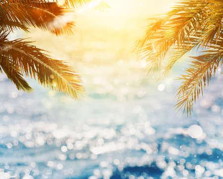サンセットの海に反映されますサンレイとココナッツの木と熱帯のビーチ