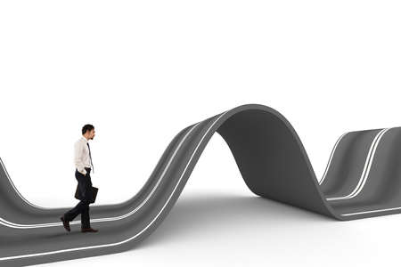 profession: Businessman ready to start on a complicated road. Concept of challenge Stock Photo